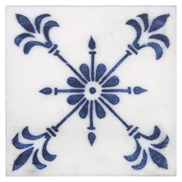 Bristol Deco Dots Pattern in 42 on Carrara or Limestone individual art tile featuring blue tones