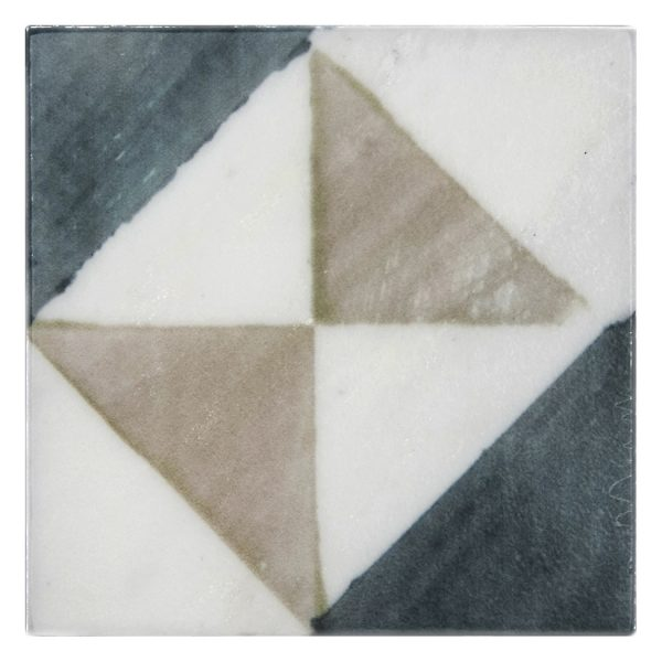 Bristol Deco Dots in Pattern 44 on Carrara or Limestone individual art tile featuring Beige and Blue tones