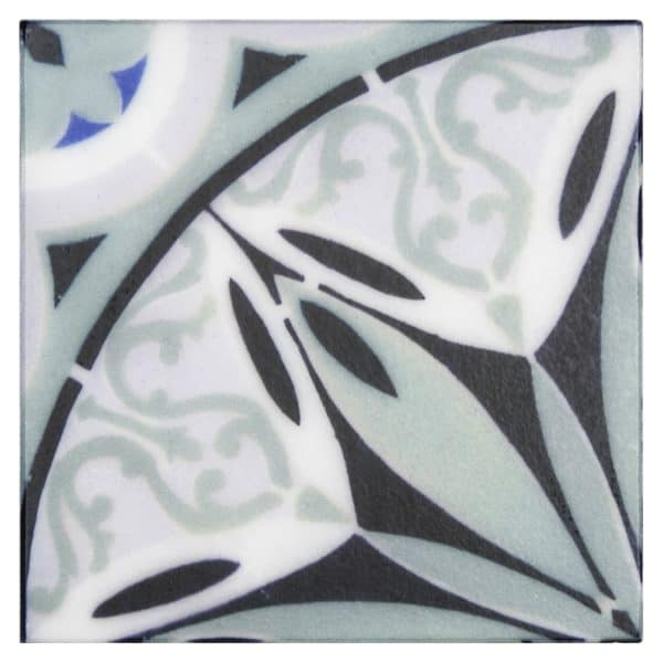 Bristol Deco Dots in Pattern 46 individual art tile on Carrara or Limestone featuring blue tones design