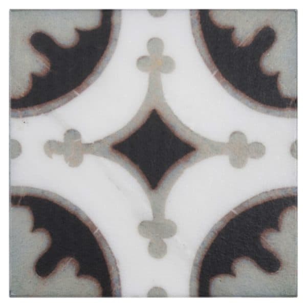 Bristol Deco Dots in Pattern 47 decorative individual art tile featuring grey and dark tones on Carrara or Limestone marble