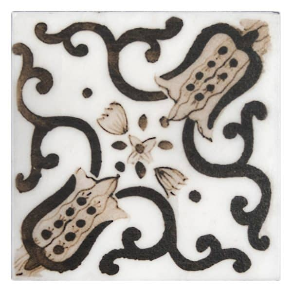 Bristol Deco Dots in Pattern 48 individual decorative art tile featuring brown tones on Carrara or Limestone marble