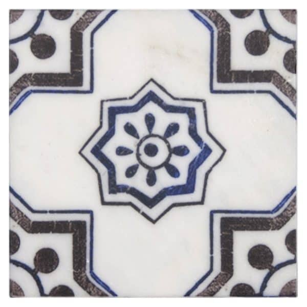 Bristol Deco Dots in Pattern 50 individual decorative tile featuring blue and brown tones on Carrara or Limestone marble
