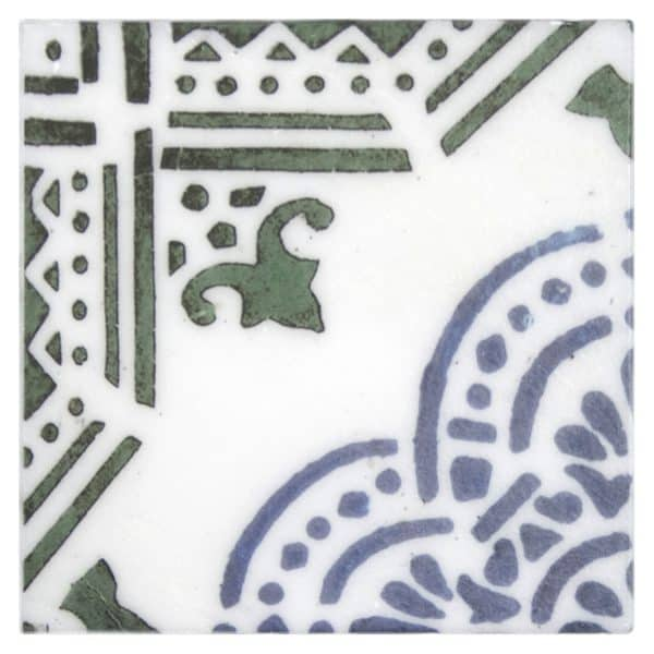 Bristol Deco Dots in Pattern 57 individual art tile featuring green and blue tones on Carrara or Limestone marble
