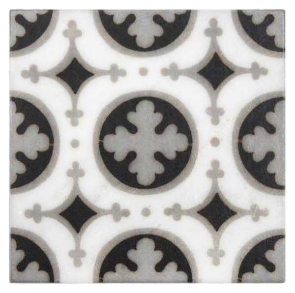 Bristol Deco Dots in Pattern 52 individual art tile featuring grey and brown tones on Carrara or Limestone marble