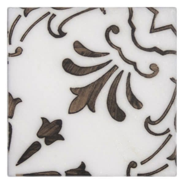 Bristol Deco Dots in Pattern 53 decorative single art tile featuring brown tones on Carrara or Limestone marble