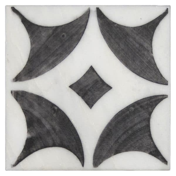 Bristol Deco Dots in Pattern 55 individual decorative art tile featuring brown tones on Carrara or Limestone marble