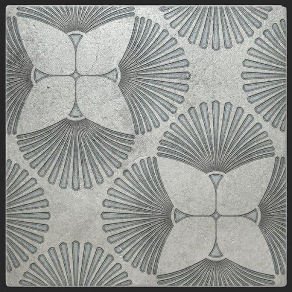 Briolette Pattern in Agate on Silver Luster Limestone featuring Grey and Silver tones