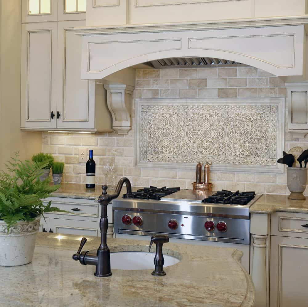 Natural Stone Elegant Kitchen Backsplash in Chateau Collection on Carrara marble