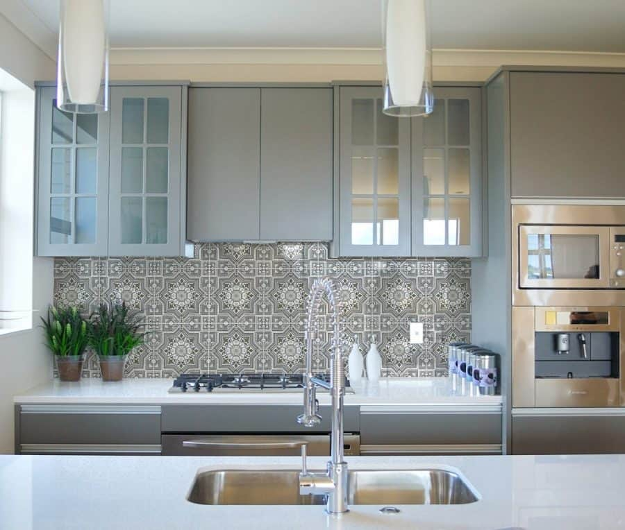 Decorative Kitchen Backsplash Design in Cabrillo (Lunar Grey) featured on Carrara marble