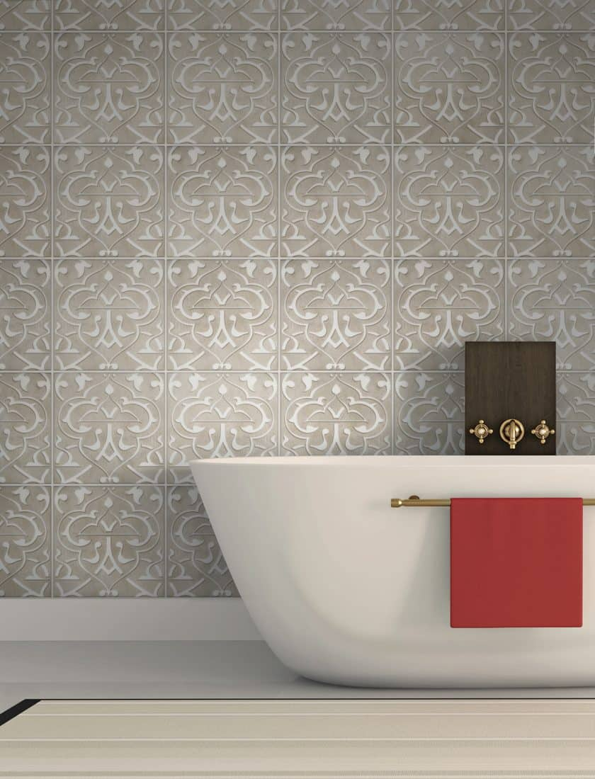 Elegant Bathroom Backsplash design in Charmed Night Pattern on Carrara marble featuring intricate designs and brown tones
