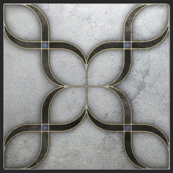 Crofton Collection featured on Silver Luster Limestone Single tile in Onyx Pattern