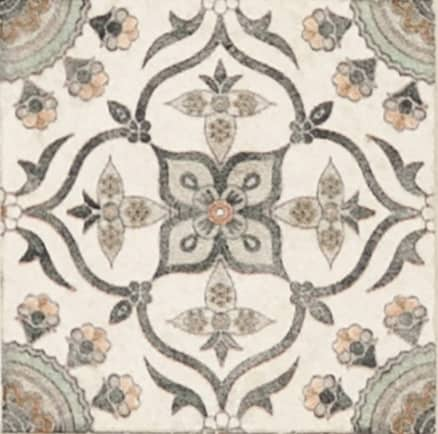Damico Collection single tile in DD66 Pattern featuring brown, green and orange tones on natural stone