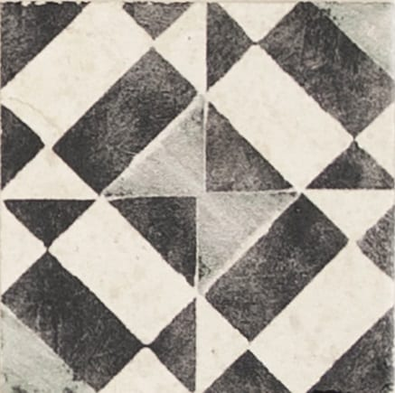 Damico Collection single tile in DD67 Pattern featuring modern design in black tones on natural stone