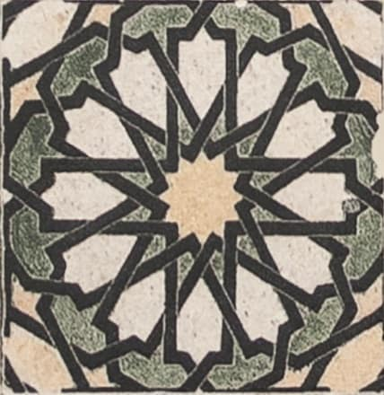 Damico Collection single tile in DD69 Pattern featuring geometrical design on natural stone