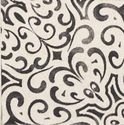 Damico Collection single tile in DD70 pattern featuring black tones on natural stone