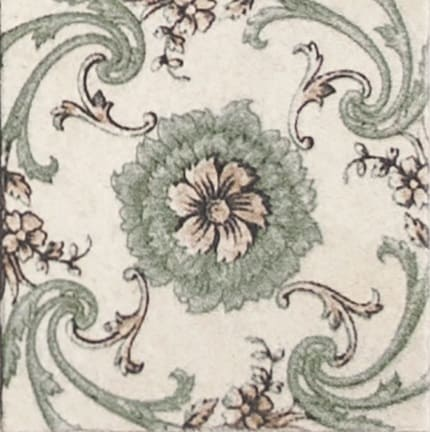 Damico Collection single tile in DD71 Pattern featuring flowers on vines on natural stone