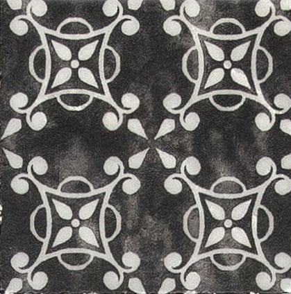 Damico Collection single tile in DD74 Pattern featuring black tones on natural stone