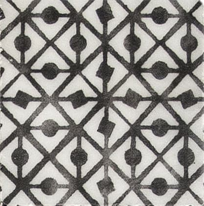 Damico Collection single tile in DD75 Pattern featuring black tones on natural stone