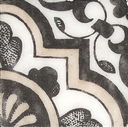 Damico Collection Single Tile in DD77 Pattern featuring black and beige tones on natural stone