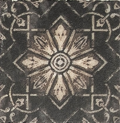 Damico Collection Single Tile in DD79 Pattern featuring rustic design and black tones on natural stone
