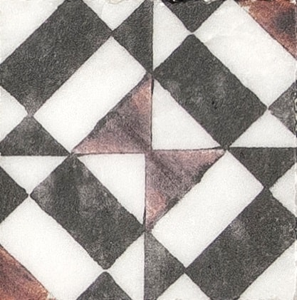 Damico Collection Single Tile in DD83 Pattern featuring modern design with black and orange tones on natural stone