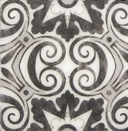 Damico Collection Single Tile in DD84 Pattern featuring black and grey tones on natural stone