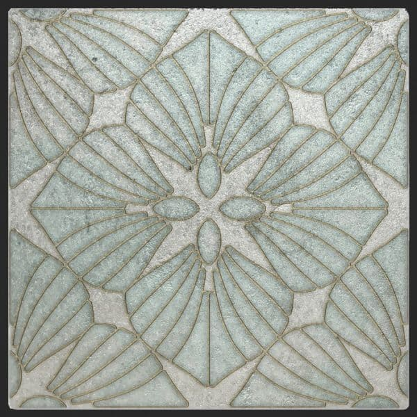 D'Orsay Collection Single Tile in Aquamarine Pattern featuring blue and silver tones on Silver Luster Limestone