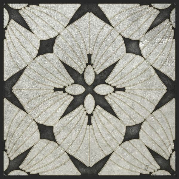 D'Orsay Collection Single Tile in Melanite Pattern featuring Silver and Black tones on Silver Luster Limestone