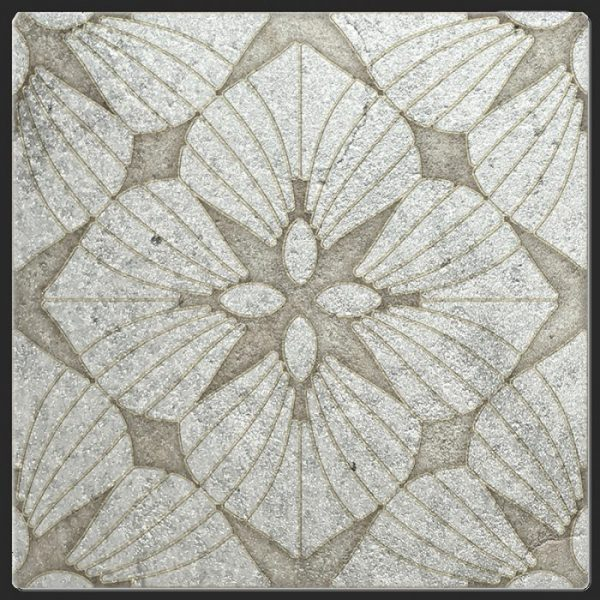 D'Orsay Collection Single Tile in Opal Pattern featuring opal and silver tones on Silver Luster Limestone