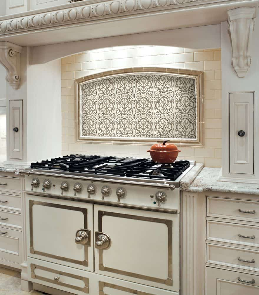 Decorative Kitchen Backsplash in Devonshire Collection on Limestone Marble