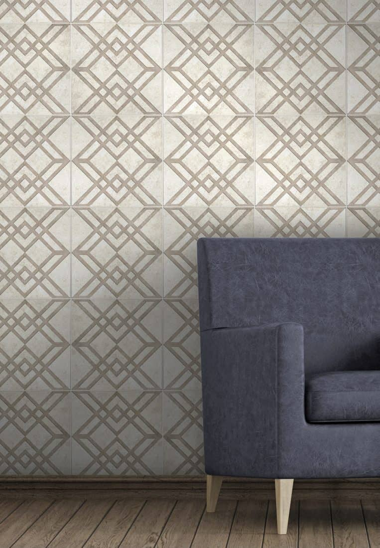 Classical Elegant Accent Wall in Elemental Pattern on Limestone
