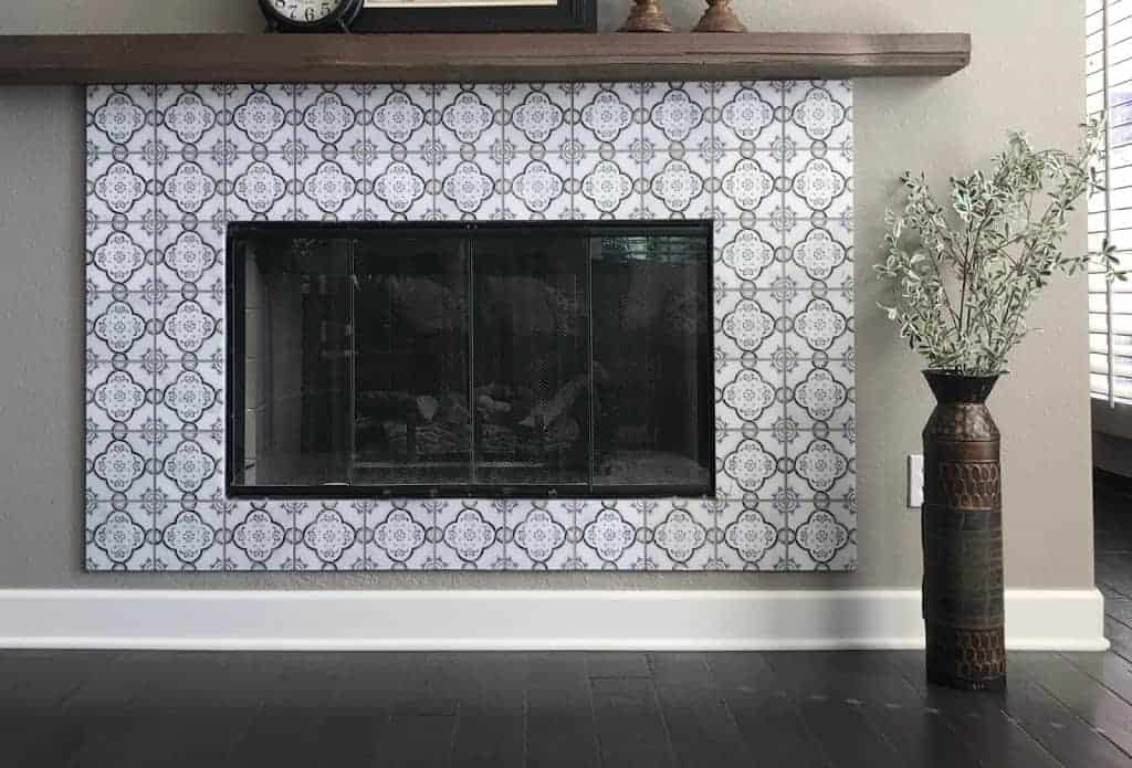 Fiore Pattern Tile Fireplace Installation