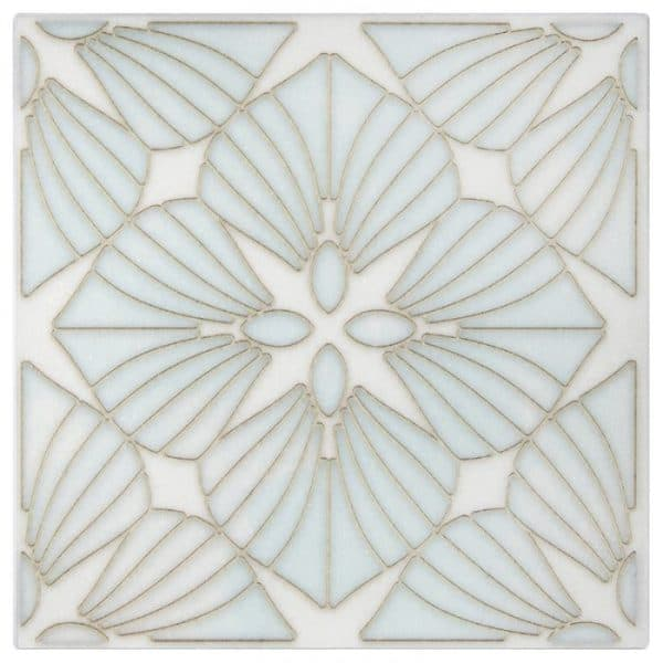 D'Orsay Pattern in Aquamarine on Thassos white marble