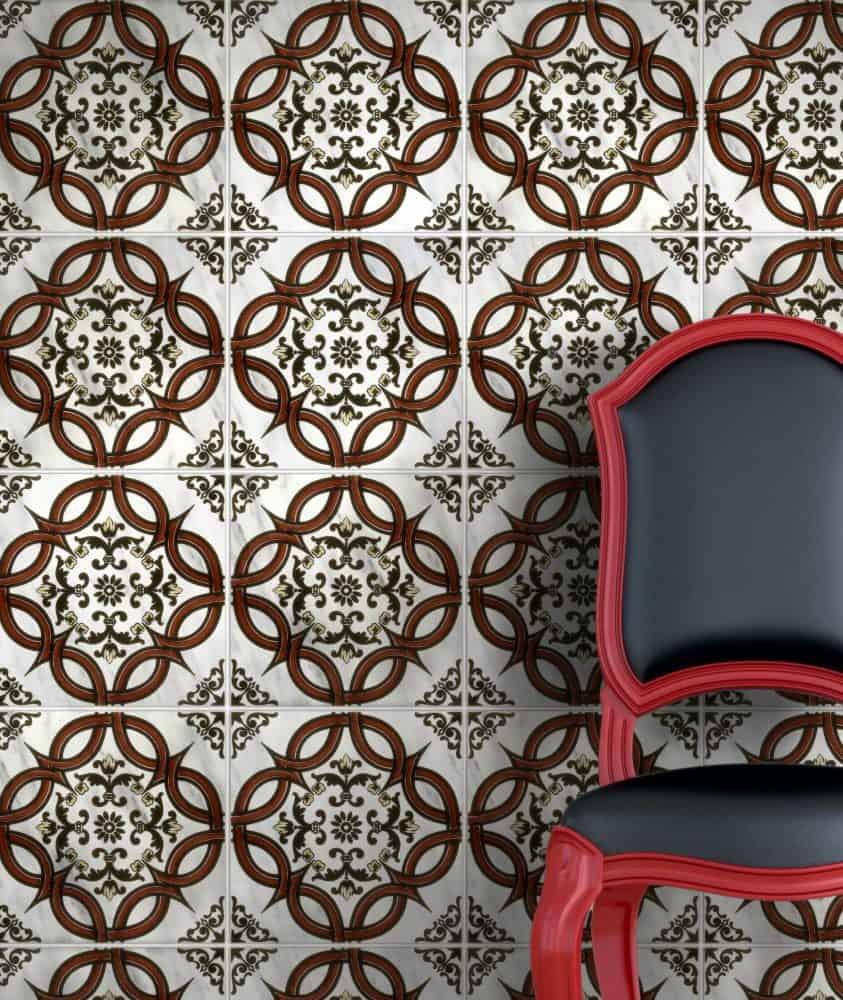 Porto Red Carrara Marble Bright Chair