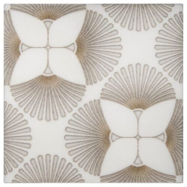 Briolette Pattern in Gold featured on Thassos Stone