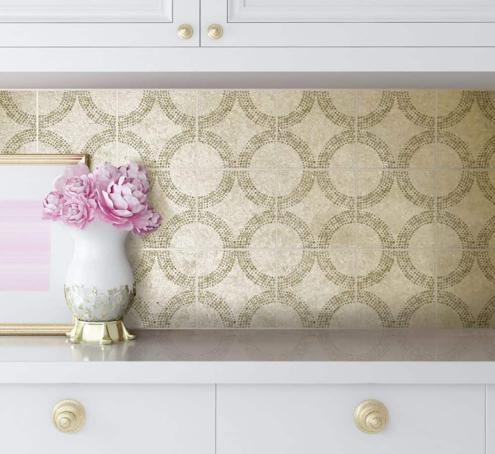 Decorative Stone Backsplash on tile tile featuring Cabochan Pattern in Jasper on Gold Silver Luster Limestone