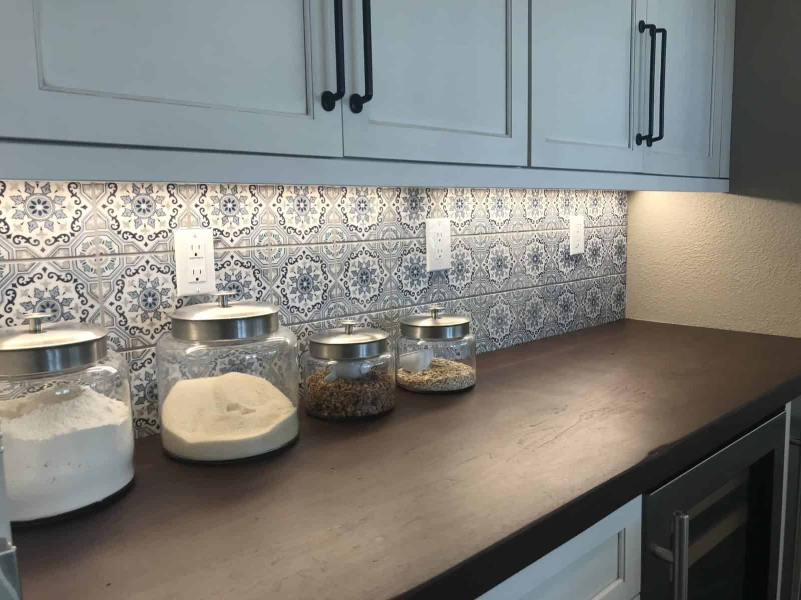 Sanza Snowflake Blue Butlers Pantry on Carrara Install Shot Installation