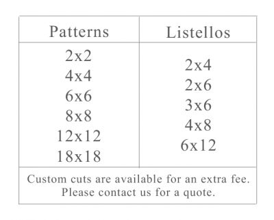 Pattern and Listellos Size Chart