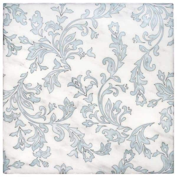 Charleston Pattern (Carolina Blue) on Carrara