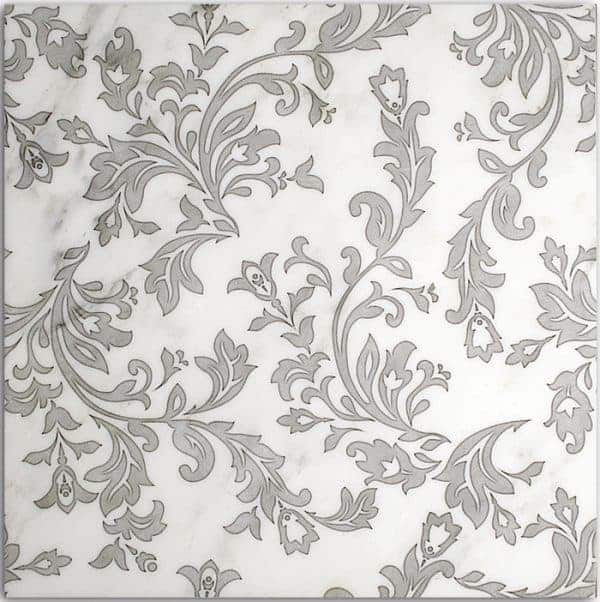 Charleston Pattern (Pewter) on Carrara
