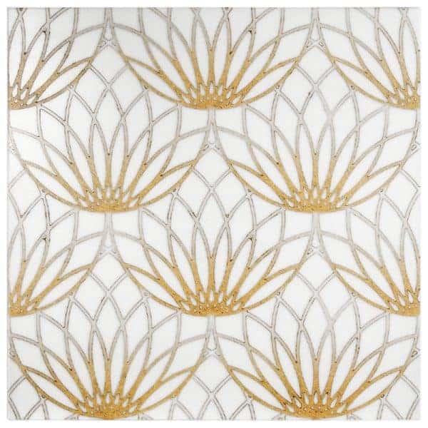 Lotus Pattern (Gold) on Thassos