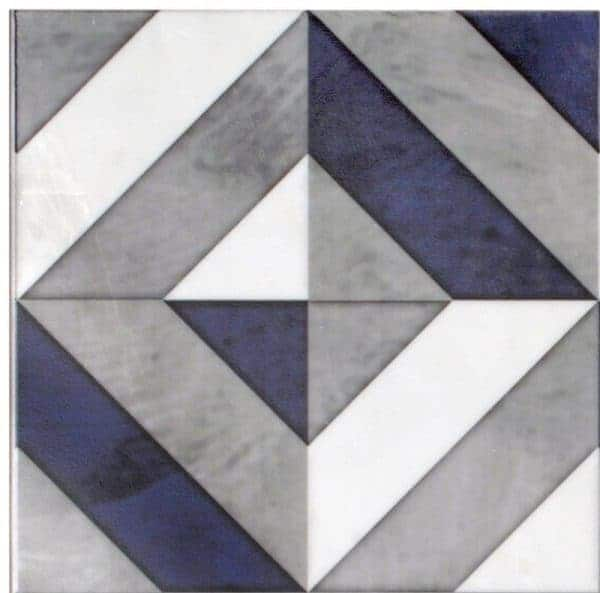 Insight Collection in Single Tile featuring Navy Pattern on Carrara White Marble