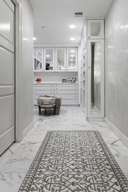 Charmed Day Listello Pattern White Bathroom Install Shot