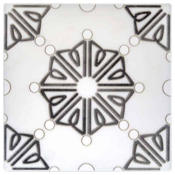 Dahlia Pattern (Black) on Carrara