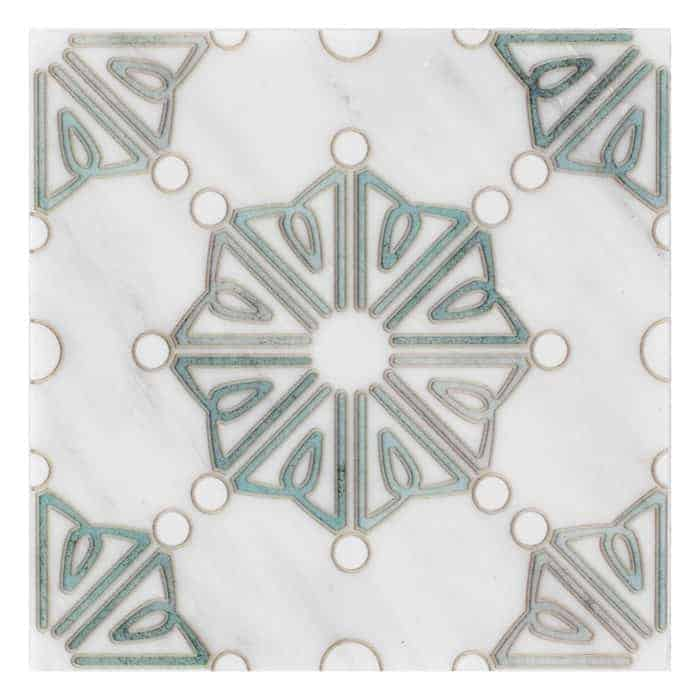 Dahlia Pattern (Emerald) on Carrara