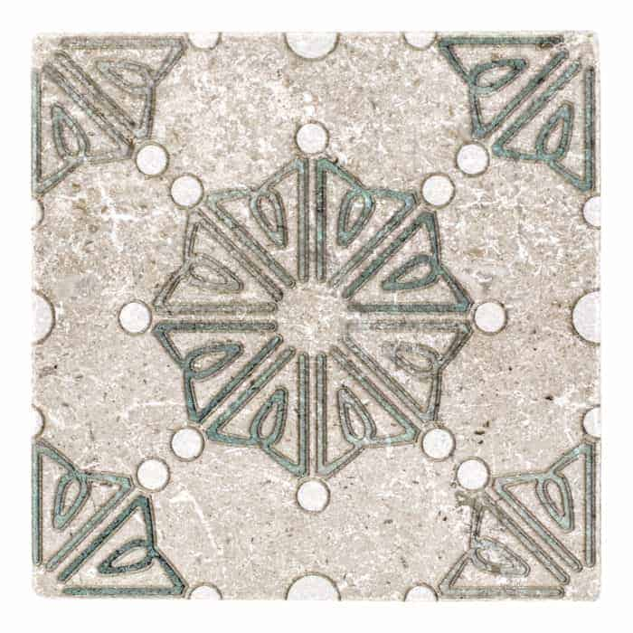 Dahlia Pattern (Emerald) on Perle Blanc