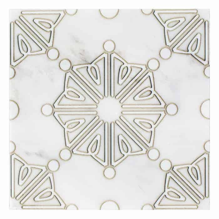 Dahlia Pattern (Pearl) on Carrara