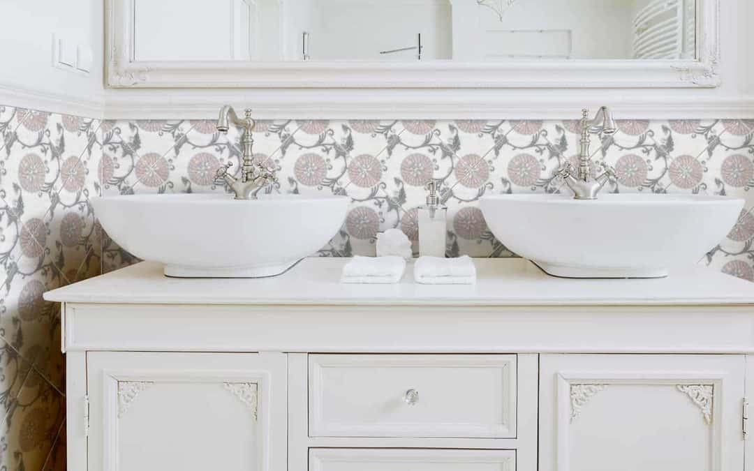 Eliana Pink Grey Carrara Bathroom SInk Install