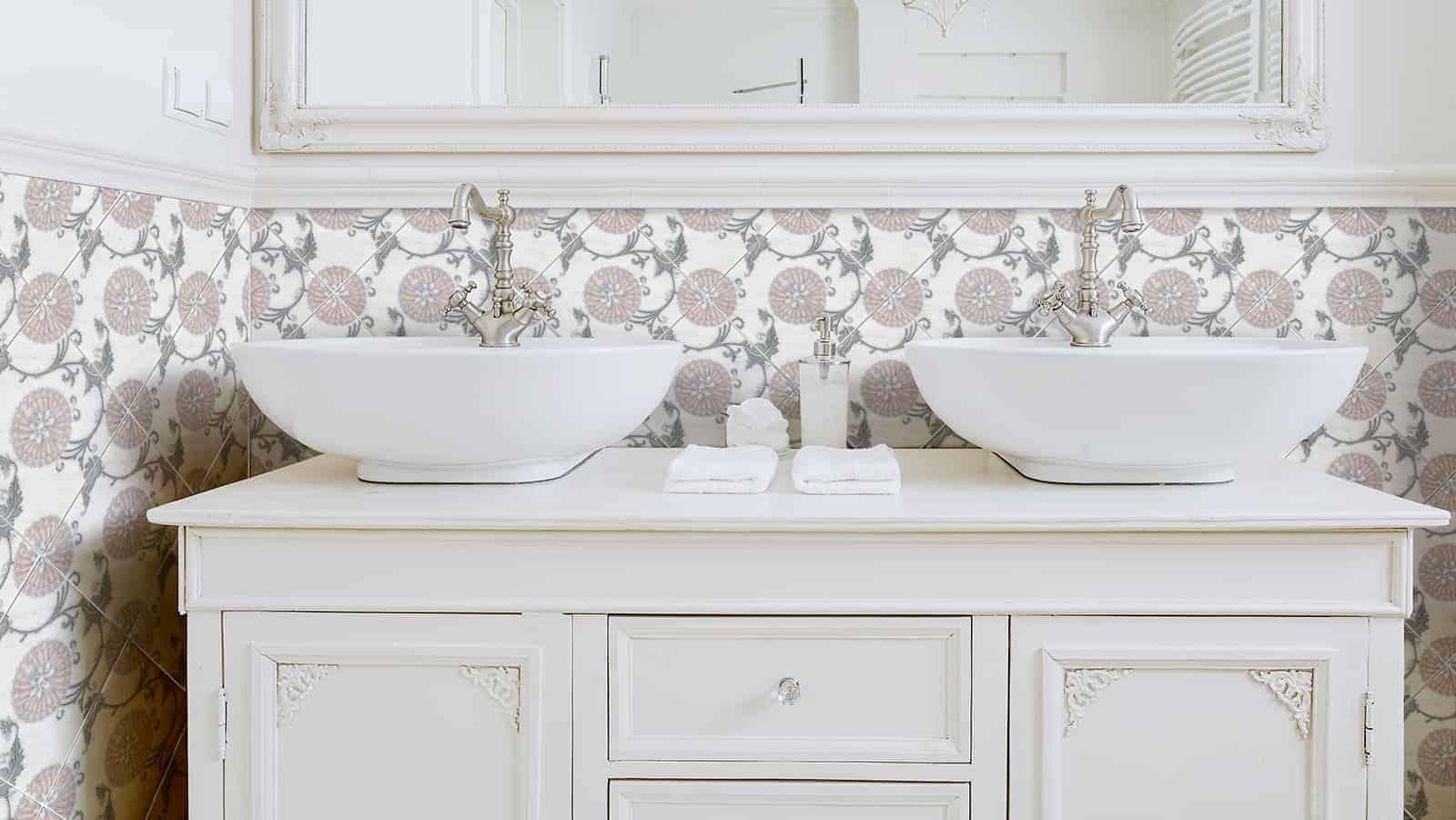 Eliana Pink Grey Carrara Bathroom SInk Install