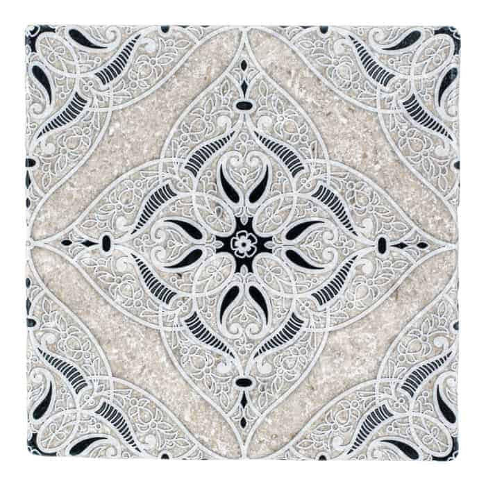 Granada Pattern (Coal) on Perle Blanc